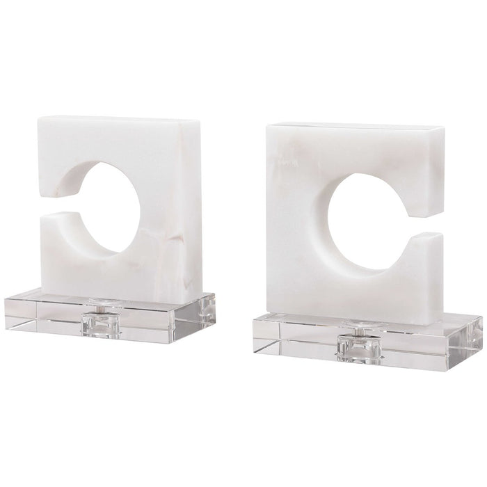 Uttermost Clarin White Bookends - Set of 2