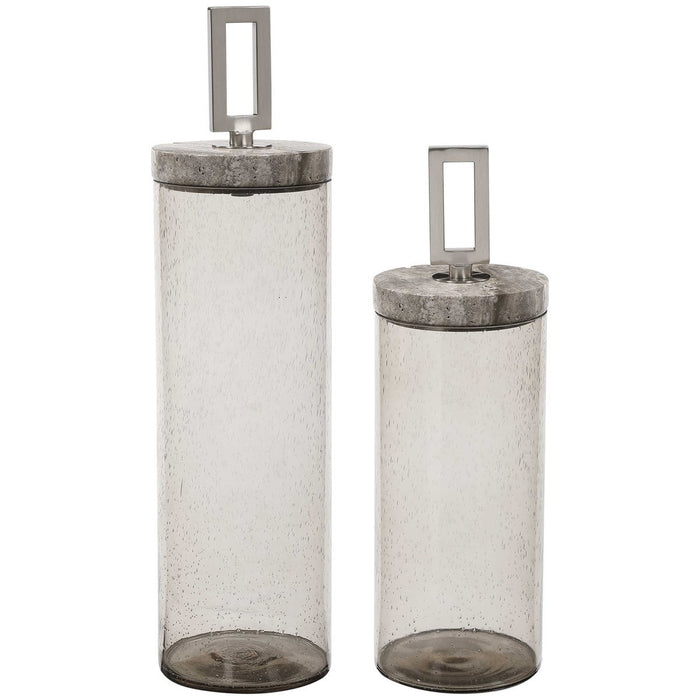 Uttermost Carmen Seeded Glass Containers - Set of 2