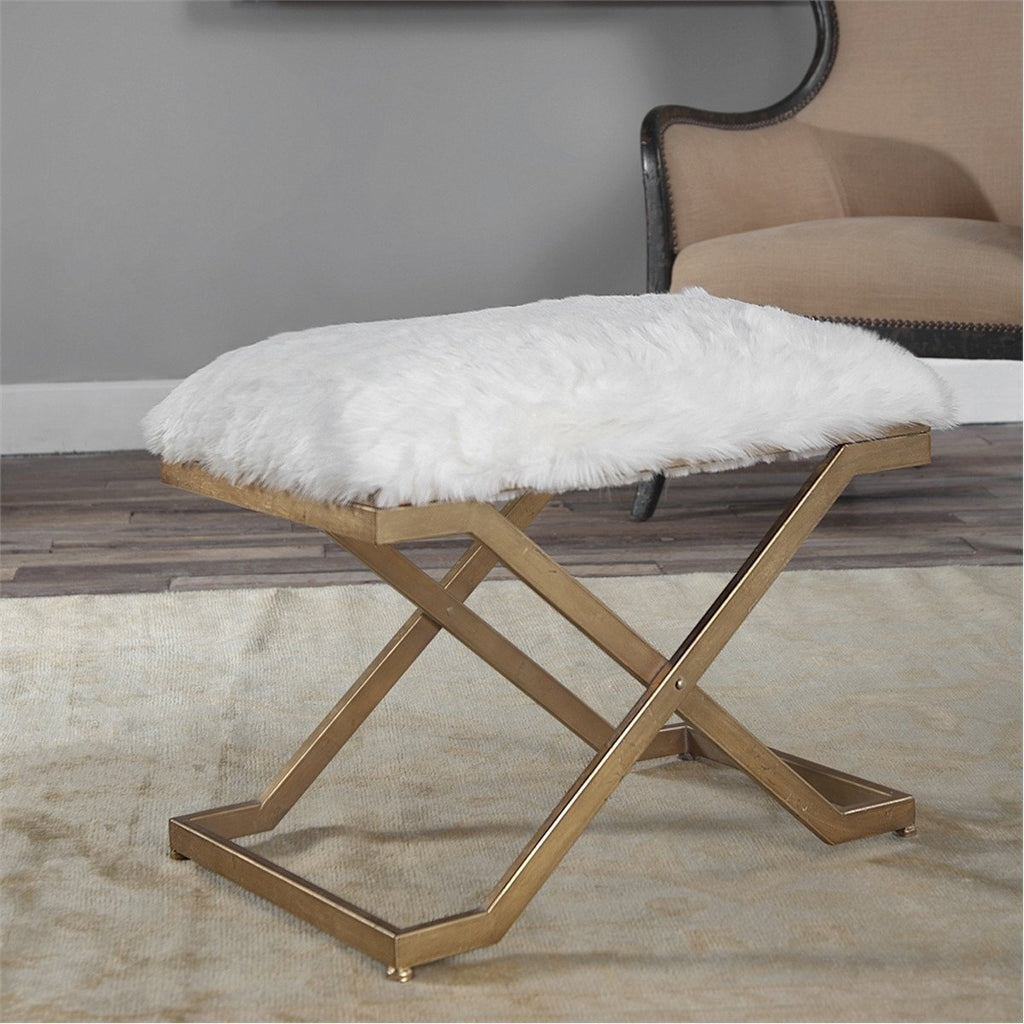 Uttermost Farran Antiqued Gold Leaf Small Bench