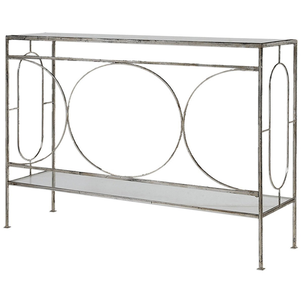 Uttermost Luano Distressed Antique Silver Console Table