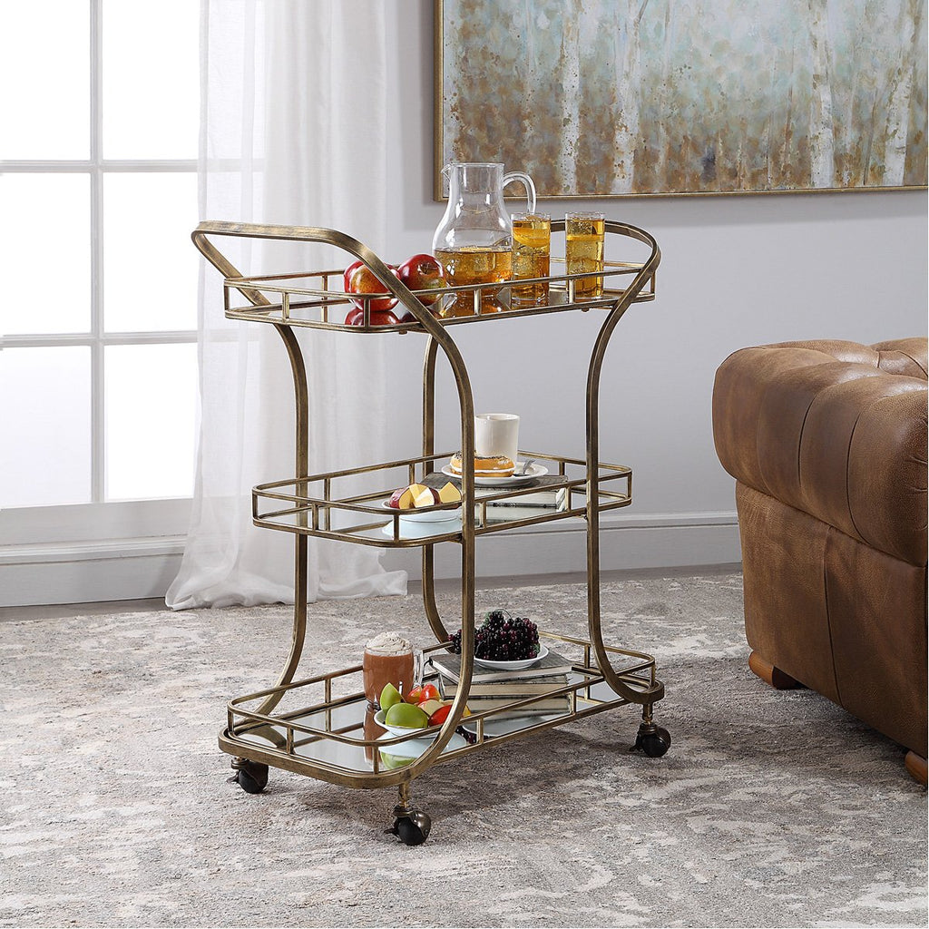 Uttermost Stassi Gold Serving Cart