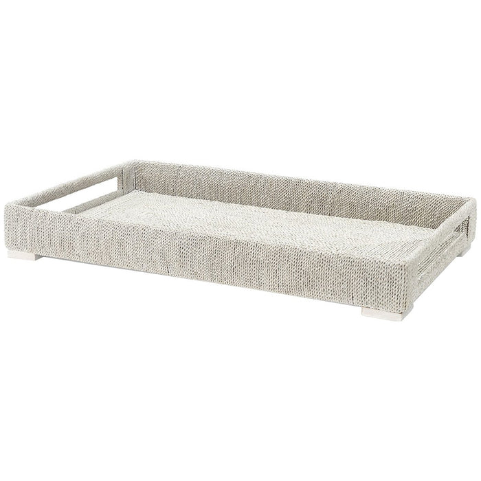 Palecek Woodside Rectangular Tray, White Sand