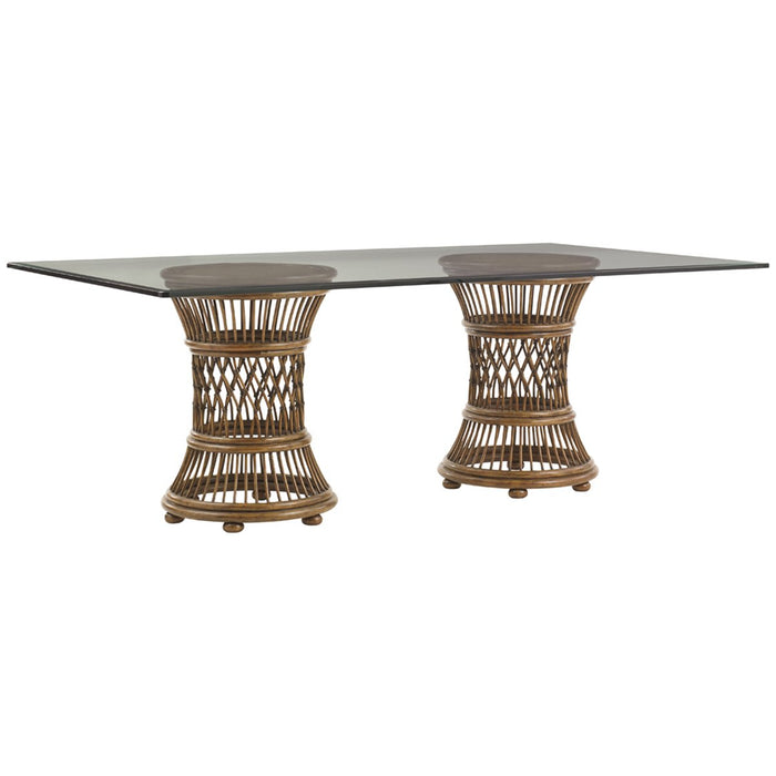 Tommy Bahama Bali Hai Aruba Dining Table with 84 x 48-Inch Glass Top