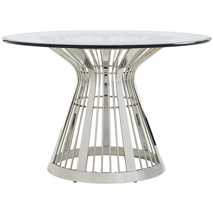 Lexington Ariana Riviera Stainless Dining Table with Glass Top