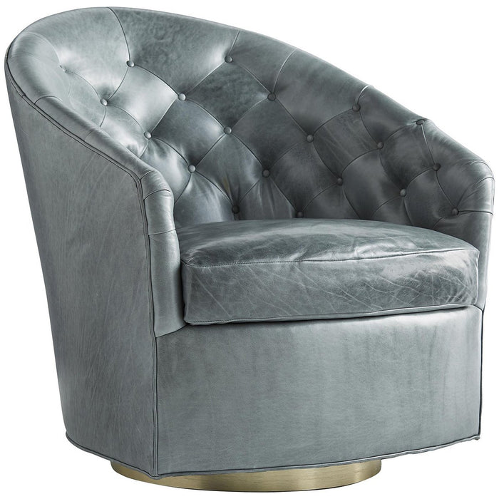 Arteriors Capri Leather Swivel Chair - Champagne/Juniper
