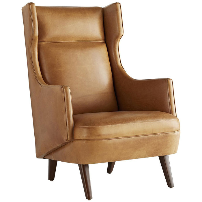Arteriors Budelli Leather Wing Chair - Cognac/Dark Walnut
