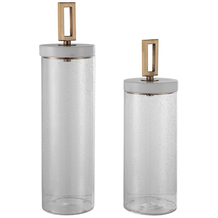 Uttermost Hayworth Seeded Glass Containers - Set of 2
