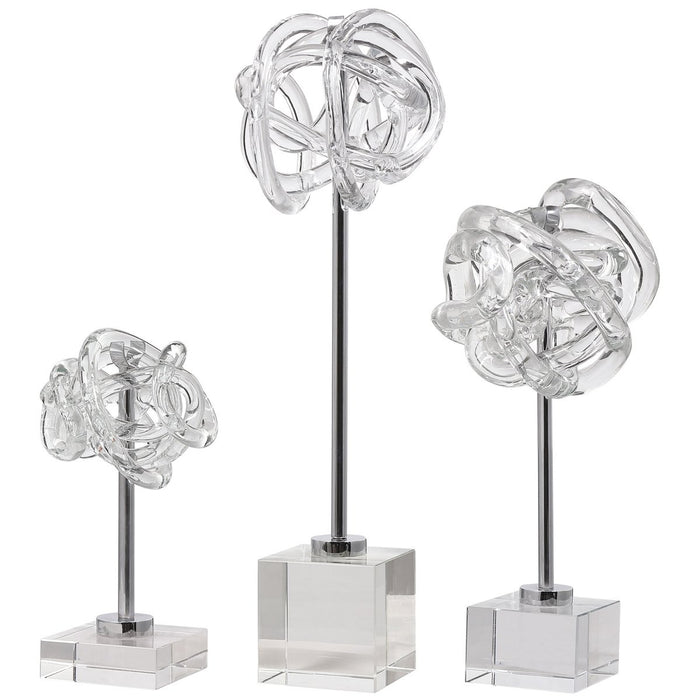 Uttermost Neuron Glass Table Top Sculptures, 3-Piece Set