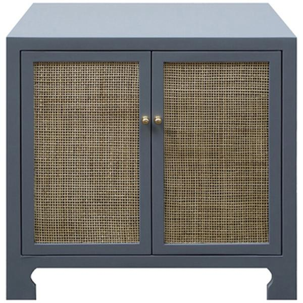 Worlds Away Cane Cabinet with Brass Hardware
