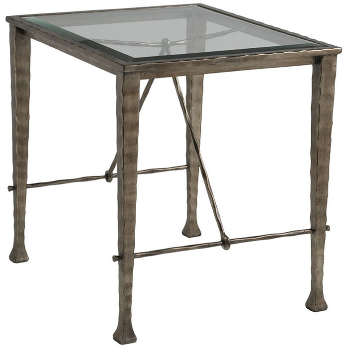 Artistica Home Cortona End Table with Glass Top 2129-955C
