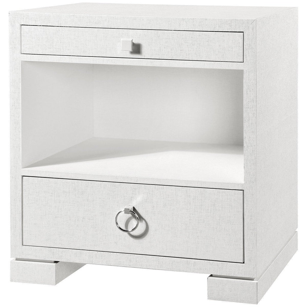 Frances 2-Drawer Side Table in White