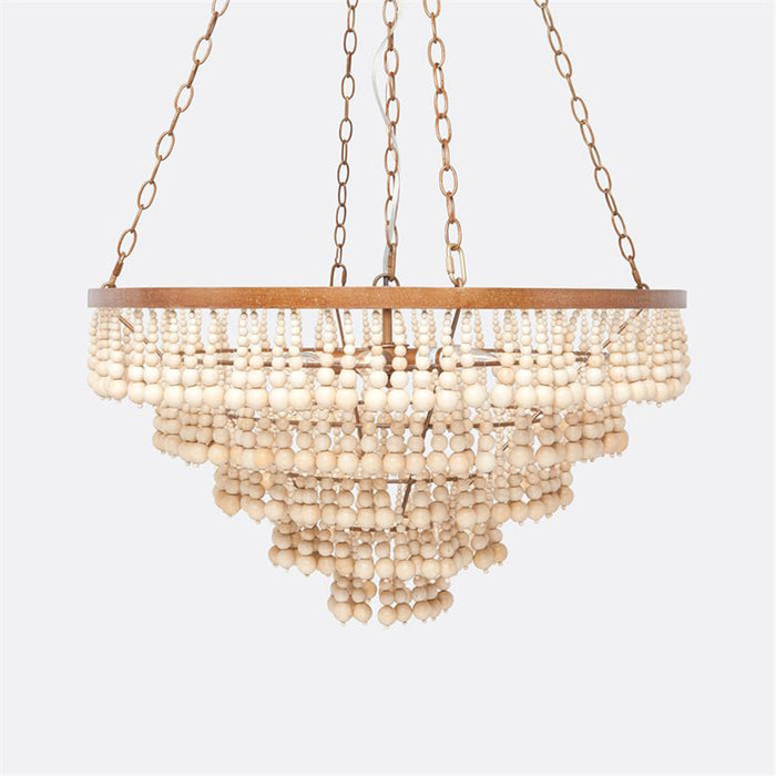 Made Goods Pia Natural Wood Beads Small Chandelier