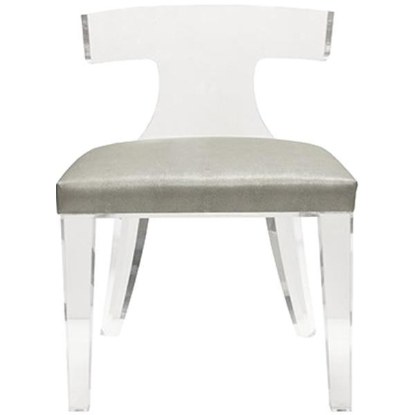 Worlds Away Acrylic Klismos Chair with Velvet Cushion Seat