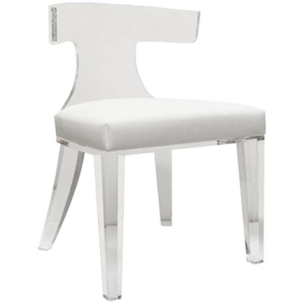 Worlds Away Acrylic Klismos Chair with White Linen Cushion
