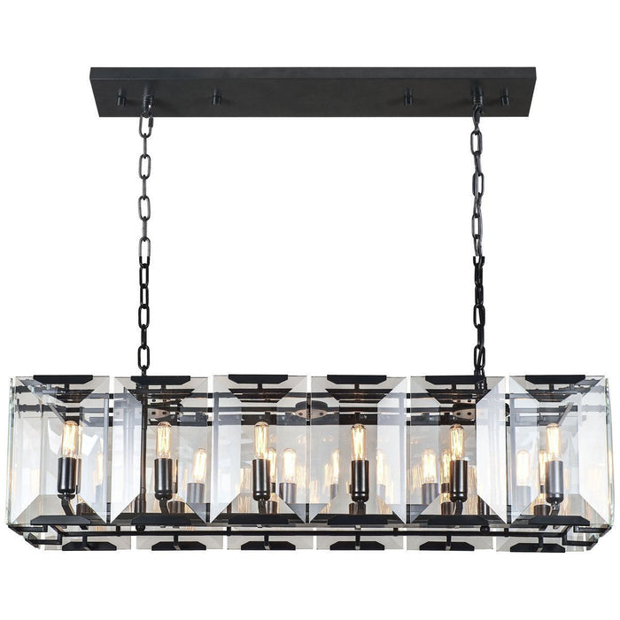 Elegant Lighting 12 Lights Monaco Pendants in Flat Black