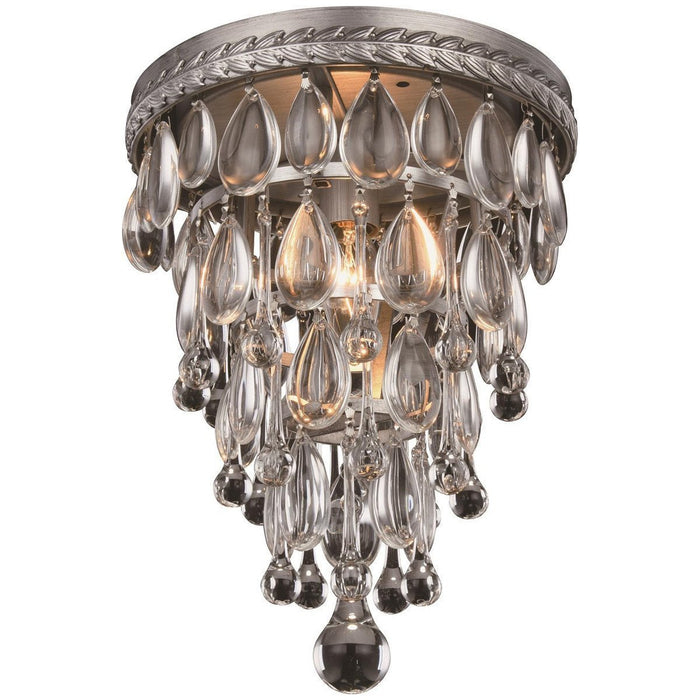 Elegant Lighting Nordic 1 Light Antique Silver Flushmount