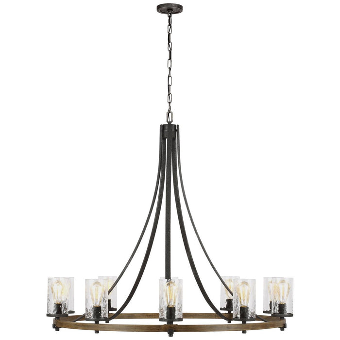 Feiss Angelo 10-Light Chandelier - Distressed Weathered Oak