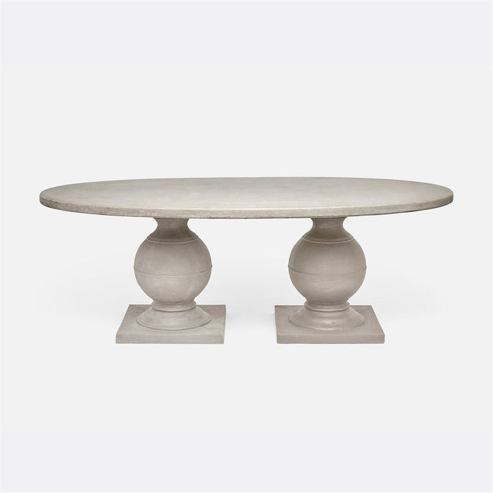 Made Goods Cyril Concrete Oval Outdoor Dining Table in Stone