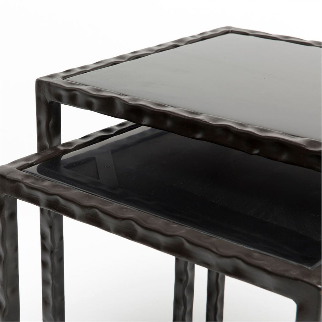 Made Goods Kort Twisted Iron Nesting Tables with Black Resin Top