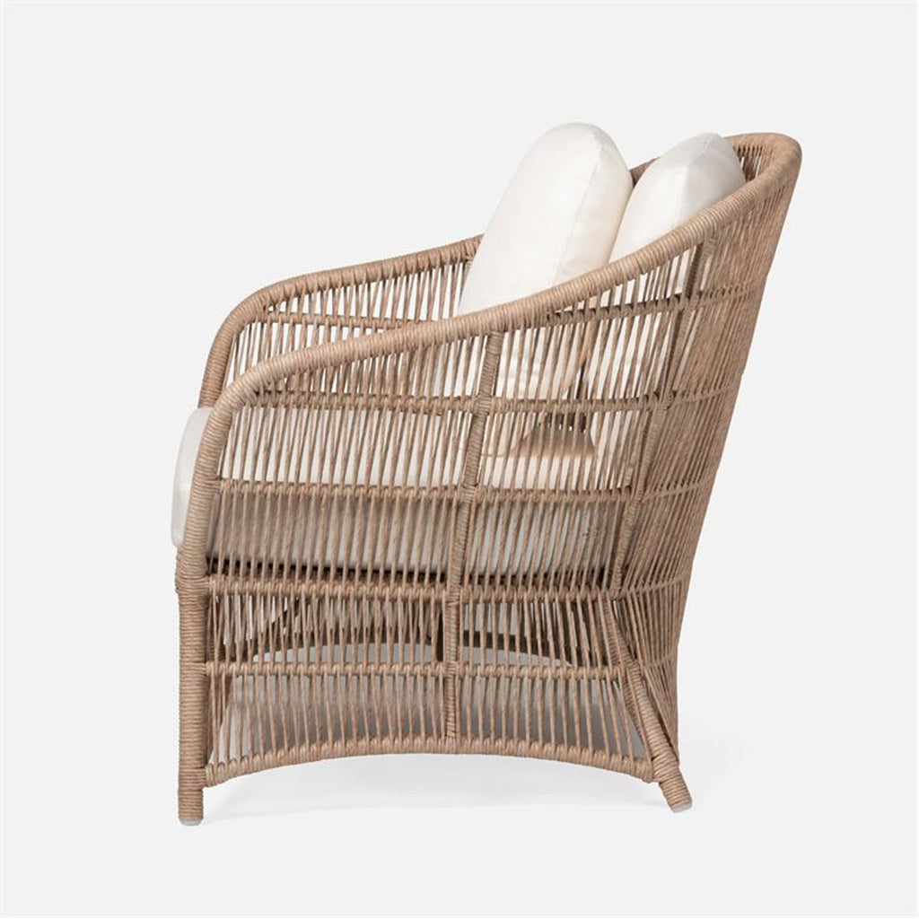 Made Goods Soma Outdoor Lounge Chair in Garonne Marine Leather