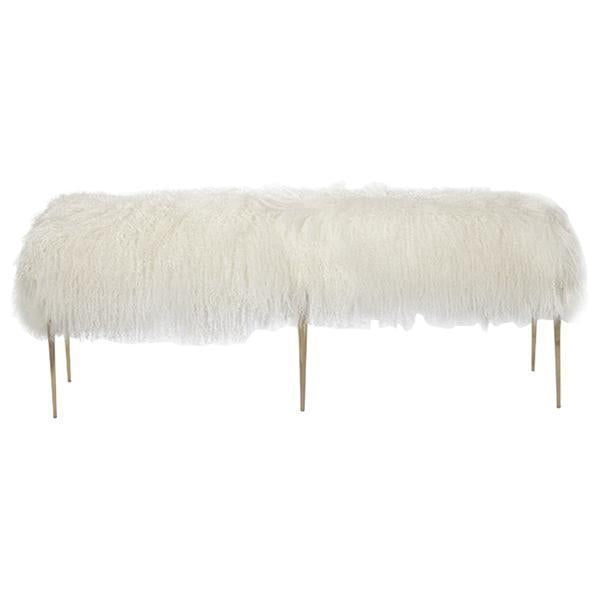 Interlude Home Stiletto Bench - Ivory Sheepskin