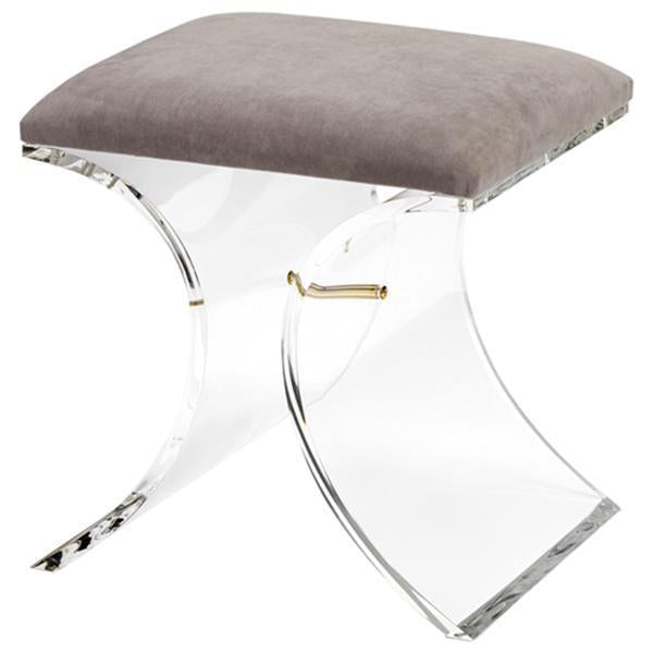 Interlude Home Serena Stool - Grey Velvet