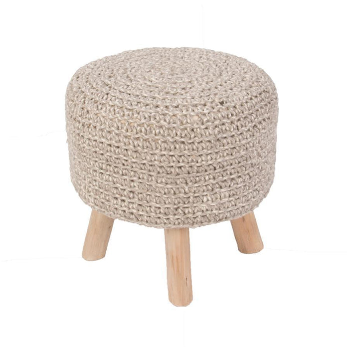 Jaipur Westport By Rug Republic Montana Stool Wool/Wooden Legs Pouf