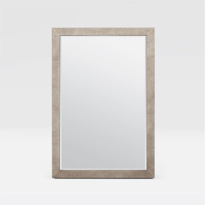 Made Goods Sidney Perfect Vanity Mirror in Warm Silver Faux Silk