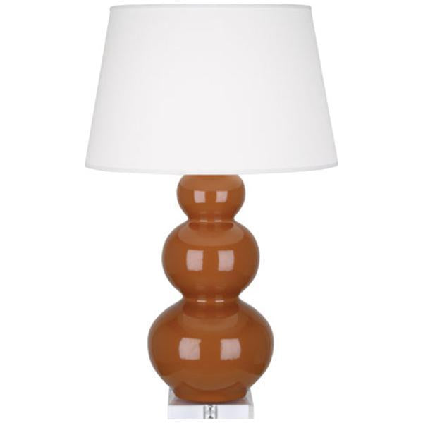 Robert Abbey Triple Gourd Glazed Ceramic and Lucite Base Table Lamp