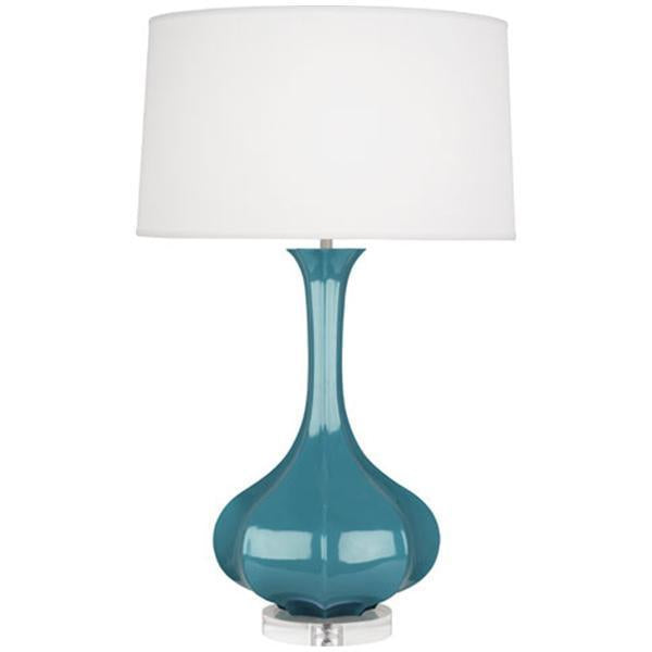 Robert Abbey Pike Glazed Ceramic and Lucite Base Table Lamp
