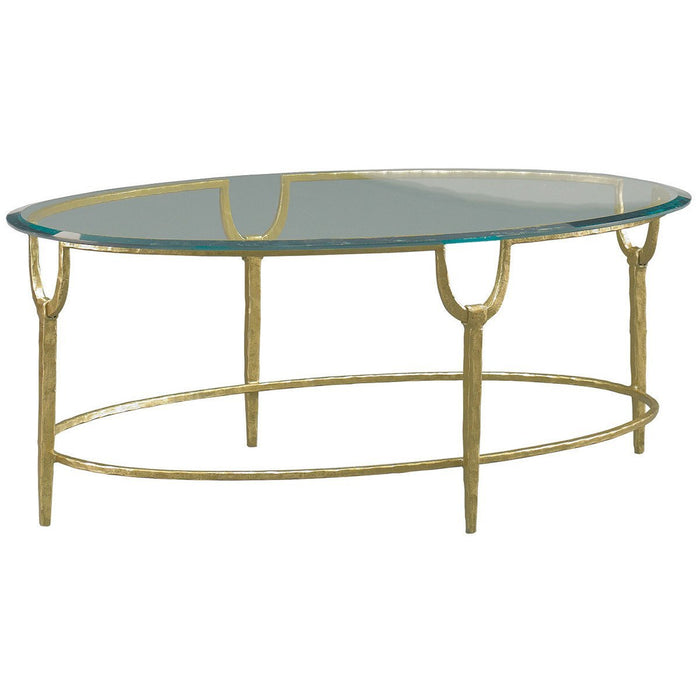 CTH Sherrill Occasional Trifecta Oval Cocktail Table in Gold Leaf