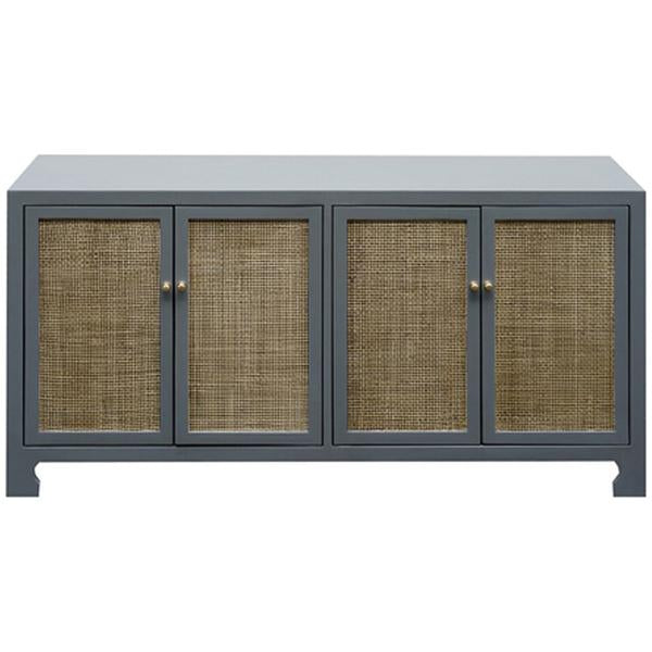 Worlds Away 4-Door Cane Cabinet with Brass Hardware