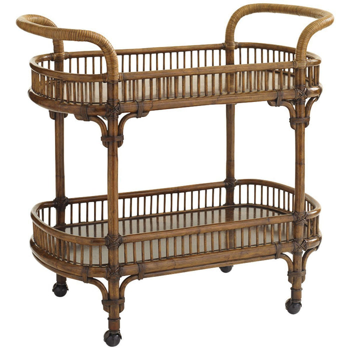 Tommy Bahama Bali Hai Medium Brown Veranda Bar Cart