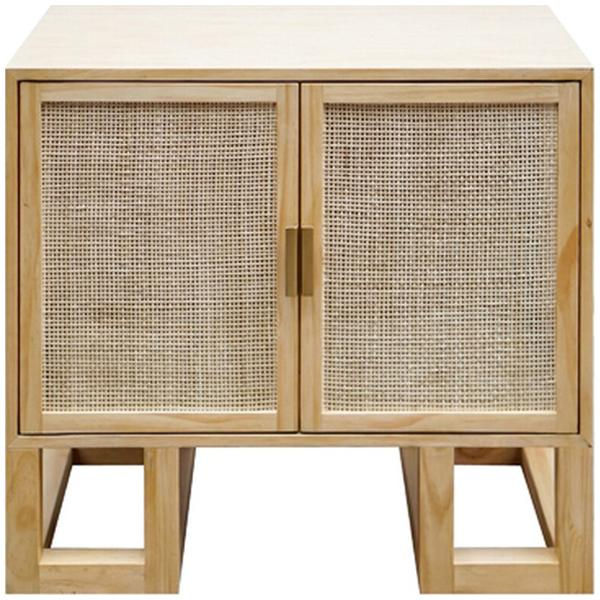Worlds Away Cabinet with Cane Door and Brass Hardware in Pine