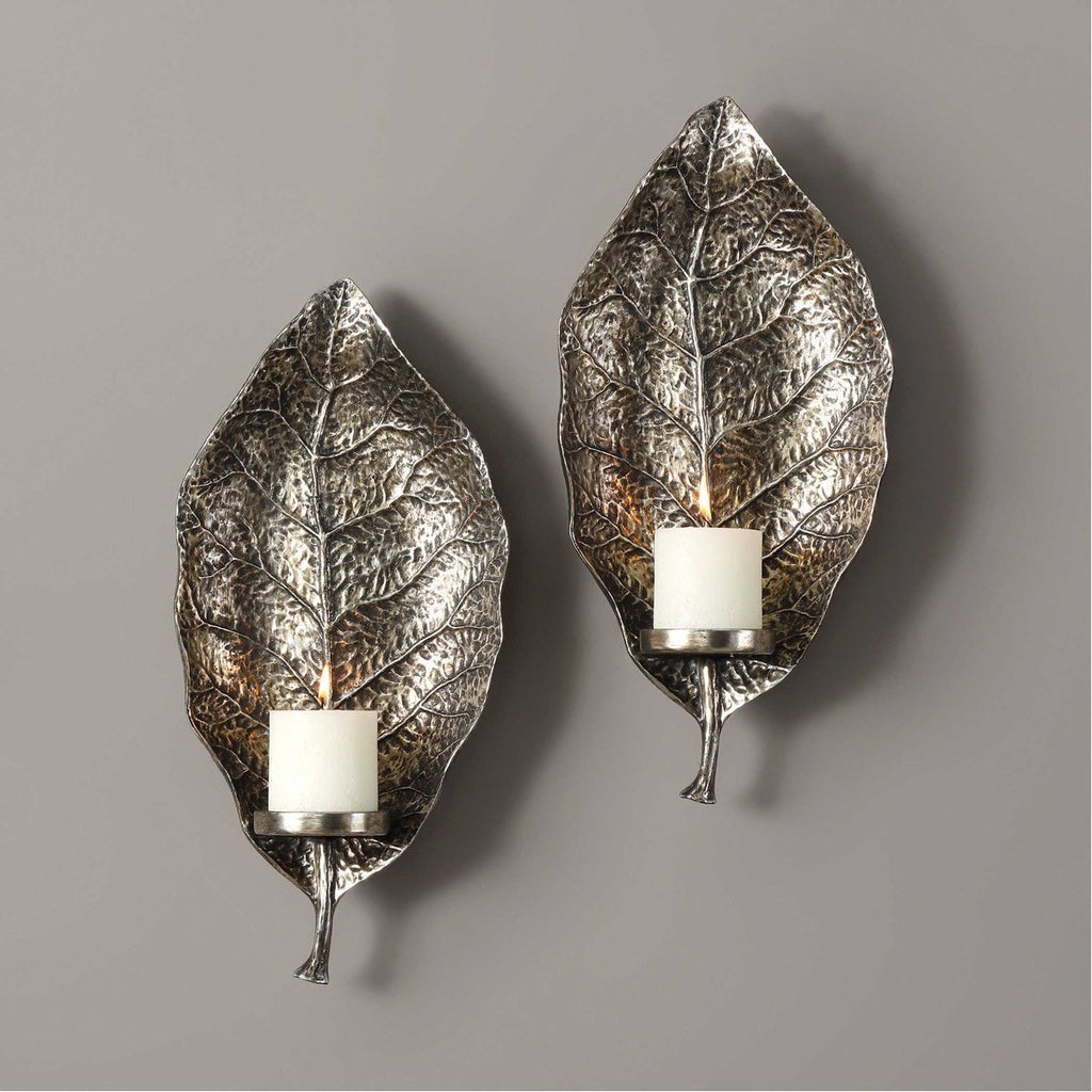 Uttermost Zelkova Leaf Wall Sconces, Set of 2