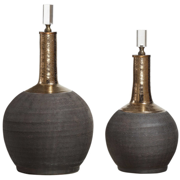 Uttermost Arnav Matte Black Bottles, Set of 2