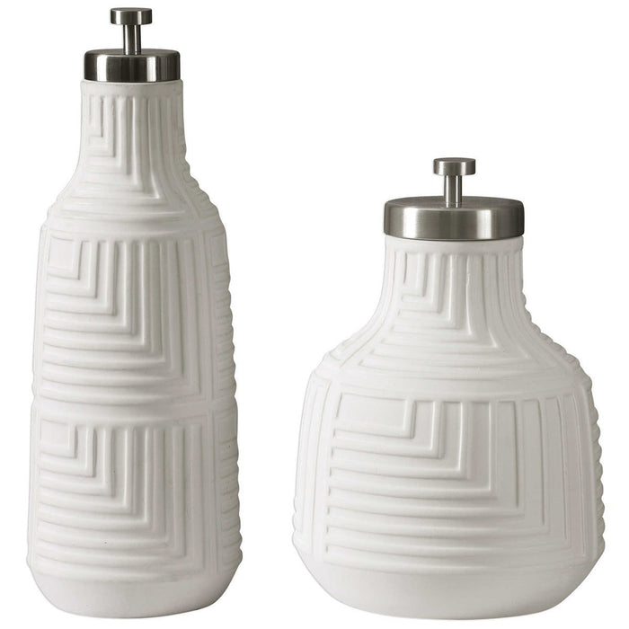 Uttermost Chandran Matte White Containers, Set of 2