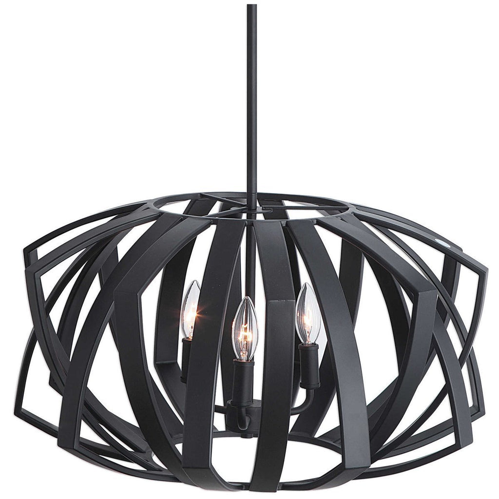 Uttermost Thales Black Geometric 3-Light Pendant
