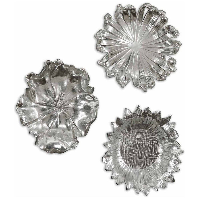 Uttermost Silver Flowers Wall Art, Set of 3 08503