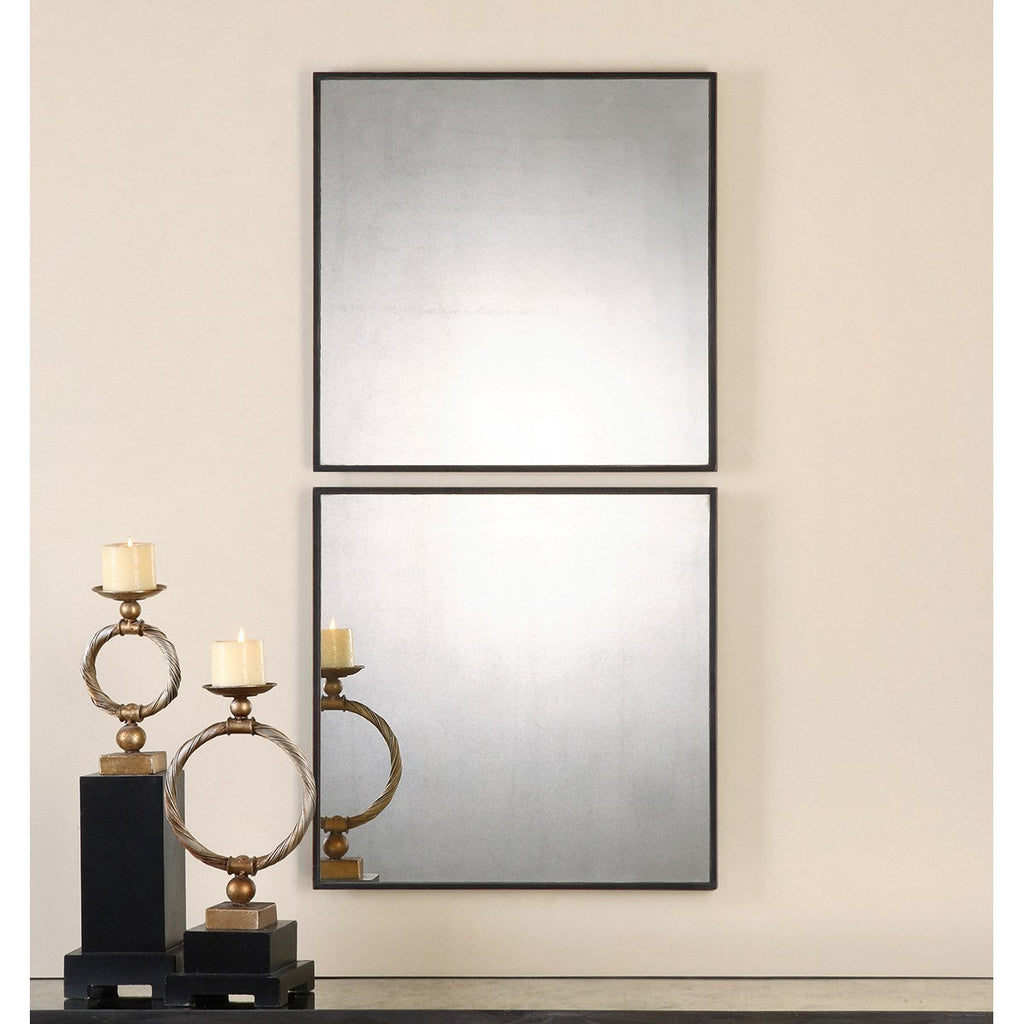 Uttermost Set of 2 Matty Antiqued Square Mirrors