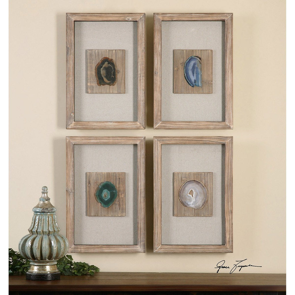 Uttermost Set of 4 Agate Stone Wall Art
