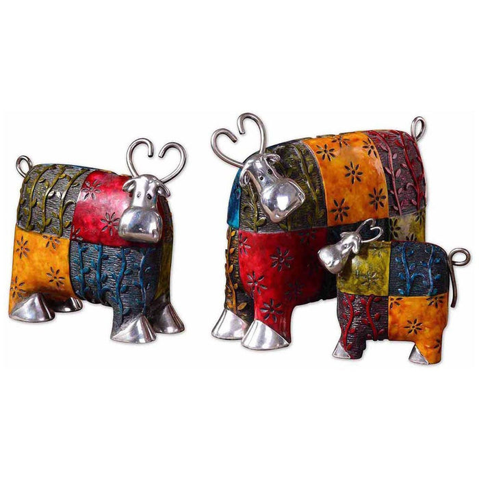 Uttermost Colorful Cows Metal Figurines, Set of 3 19058