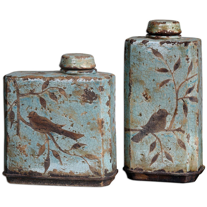 Uttermost Freya Light Sky Blue Containers, Set of 2 19547