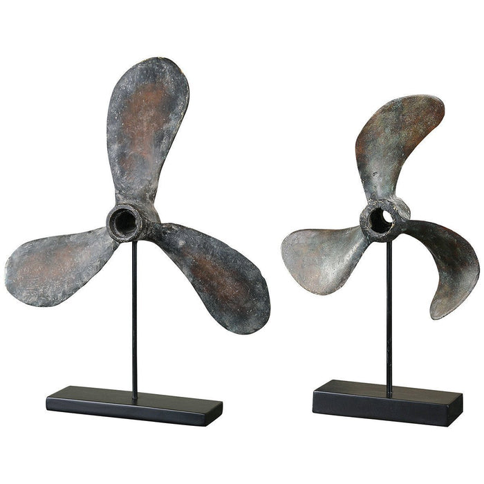 Uttermost Set of 2 Propellers Rust Sculptures