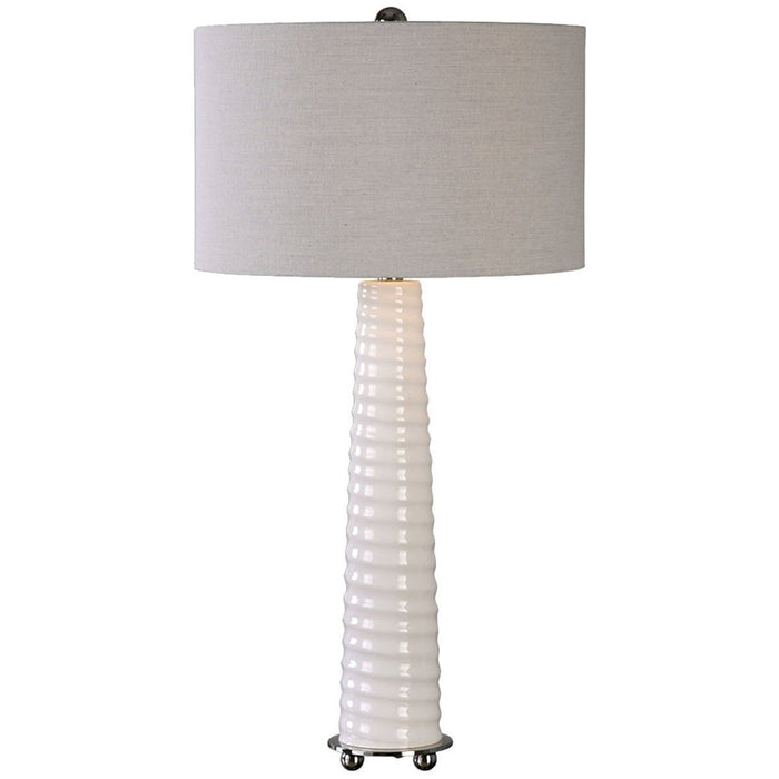 Uttermost Mavone Gloss White Glass Table Lamp