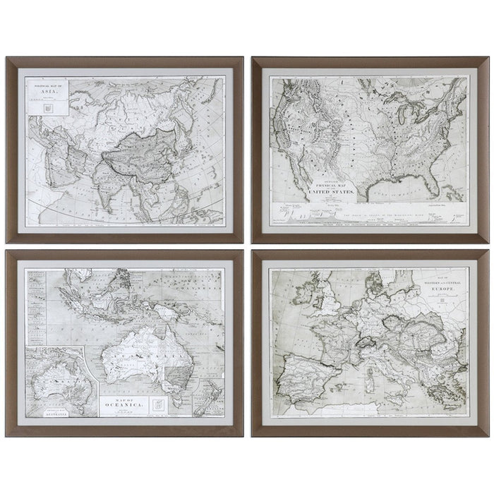Uttermost World Maps Artwork Set of 4