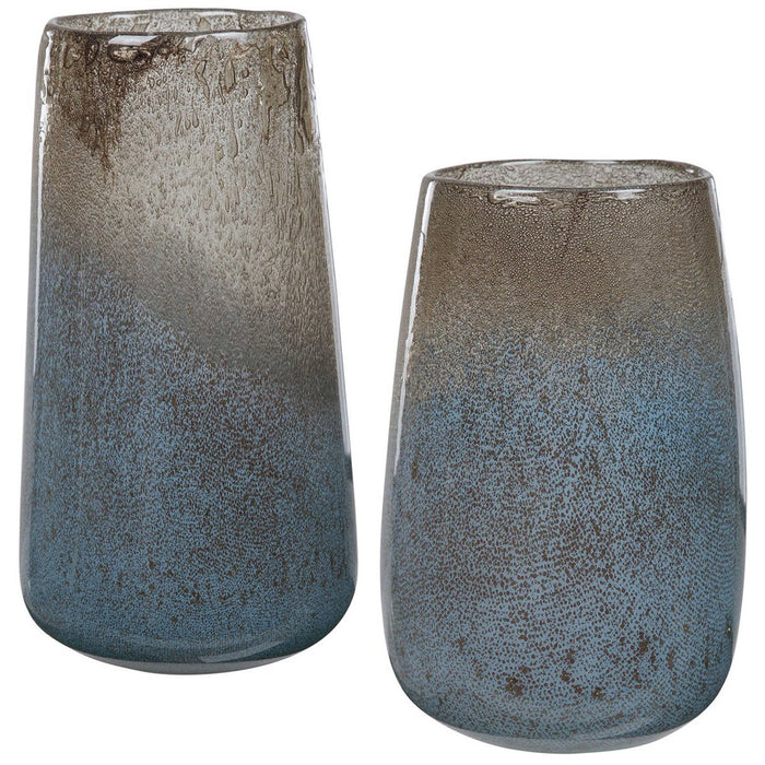 Uttermost Ione Seeded Glass Vases, 2-Piece Set