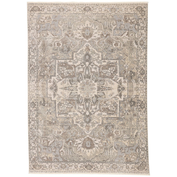 Jaipur Vienne Alain Medallion Border Gray Cream VNE01 Rug