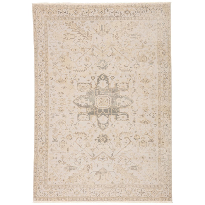 Jaipur Vienne Lucien Medallion Border Cream Light Gray VNE06 Rug