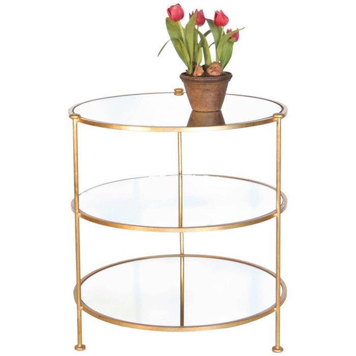 Worlds Away 3-Tier Table with Mirrored Shelves FN3TGM